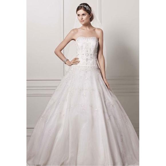 dc2b843d8a9 Oleg Cassini Satin Bodice Organza Wedding Dress